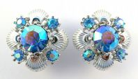 Vintage Large Blue Aurora Borealis Statement Earrings By Jewelcraft.